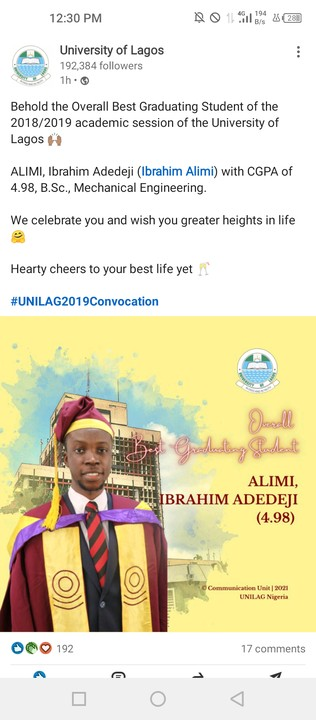 Meet UNILAG Overall Best Graduating Student For 20182019 Academic Session