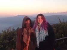 Us in Nagarkot at Sunrise with the Himalayas in the background