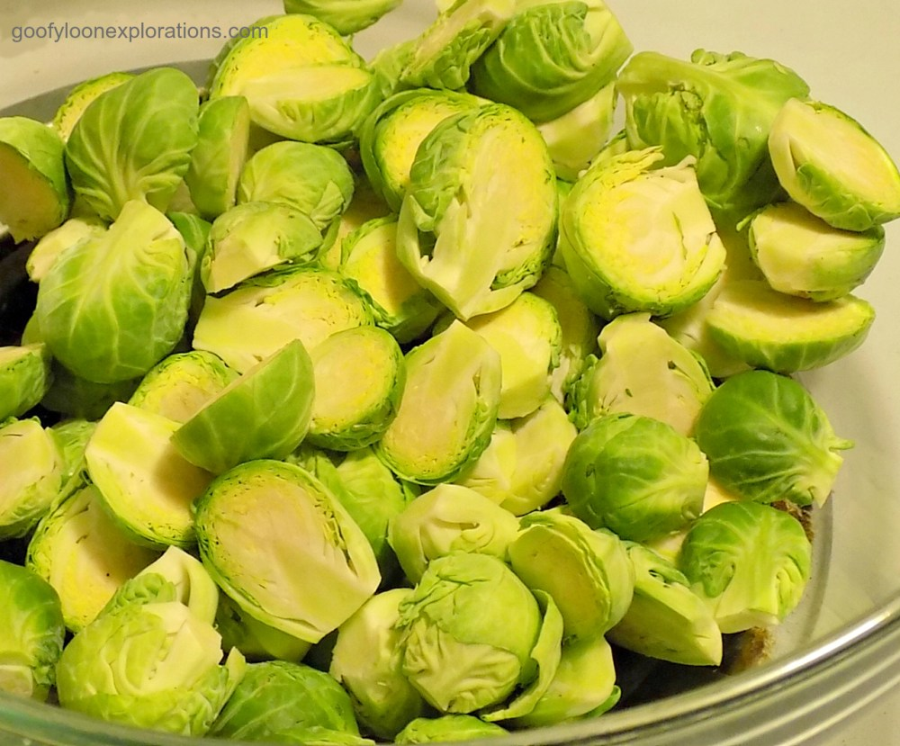 Brussel Sprouts With Bacon and Onions - Cut Brussel Sprouts