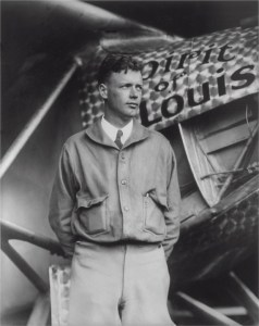 Black and white photo of a young Charles Lindbergh.