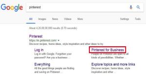 Pinterest Business accounts on Google