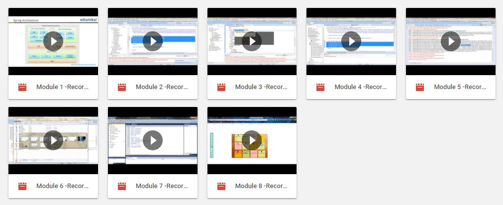 Spring Framework Certification Training - Google Drive Links