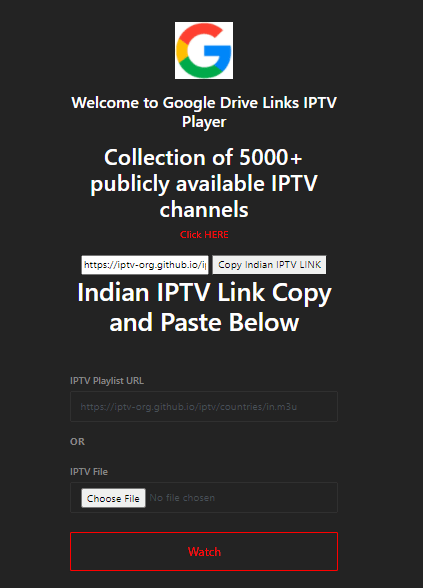 Google Drive Links Watch Live IPTV Online