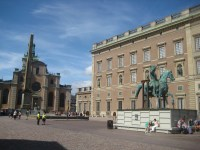 Slottsbacken, with the Royal Palace, Storkyrkan, Obelisk and a clamped horse