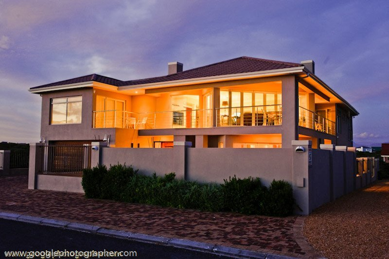 House Front at Night with Lights Property Photography