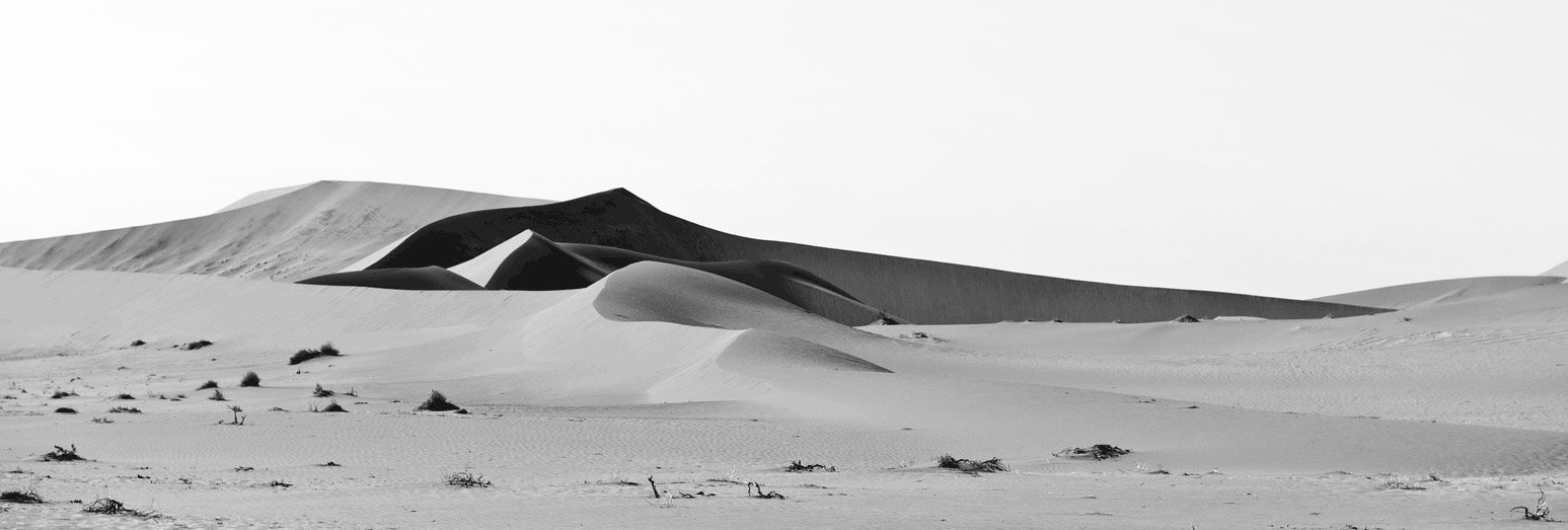 Desert Dunes in Shades of Grey Panoramic Photography
