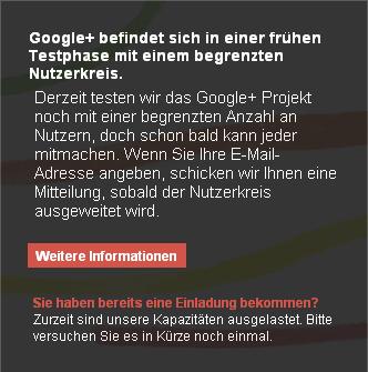 Google+ Kapazitäten ausgelastet (1/2)
