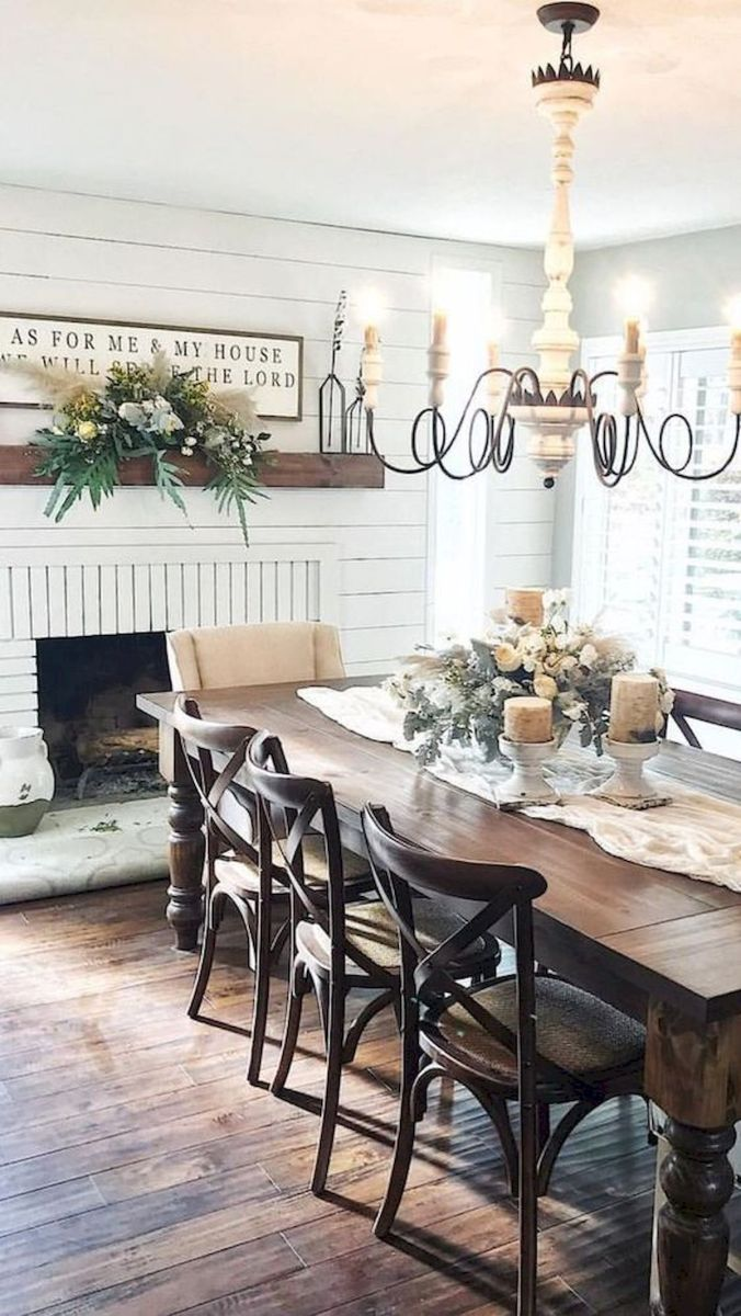 30 Best Farmhouse Table Dining Room Decor Ideas (4)