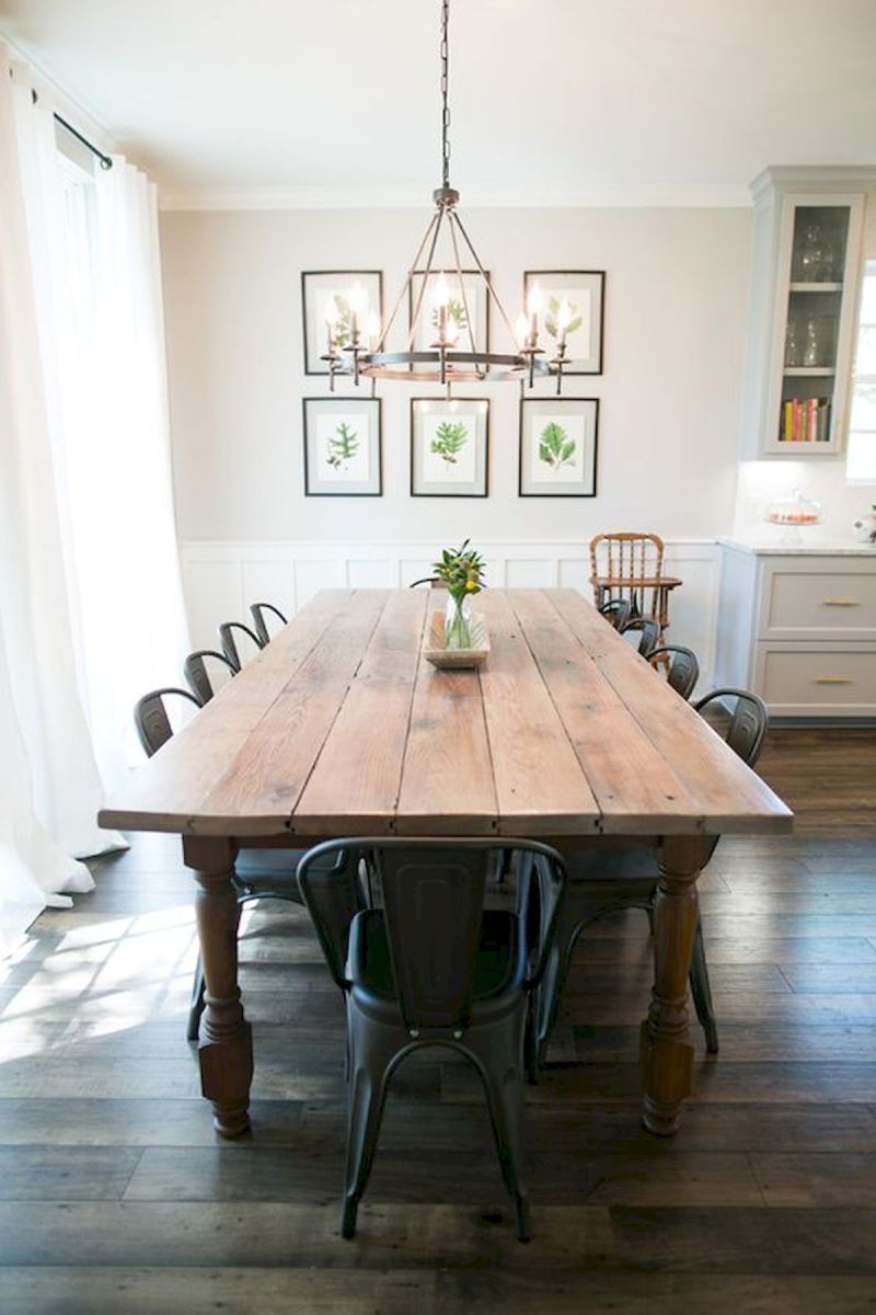 30 Best Farmhouse Table Dining Room Decor Ideas (5)