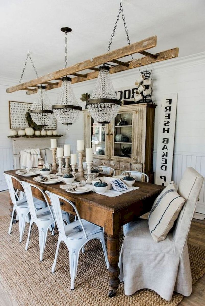30 Best Farmhouse Table Dining Room Decor Ideas (9)