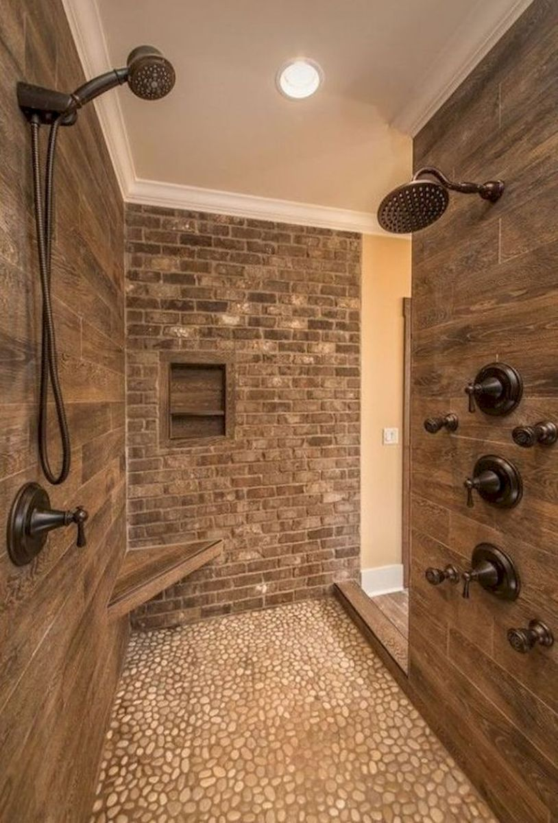 44 Suprising Farmhouse Bathroom Shower Decor Ideas And Remodel (27)
