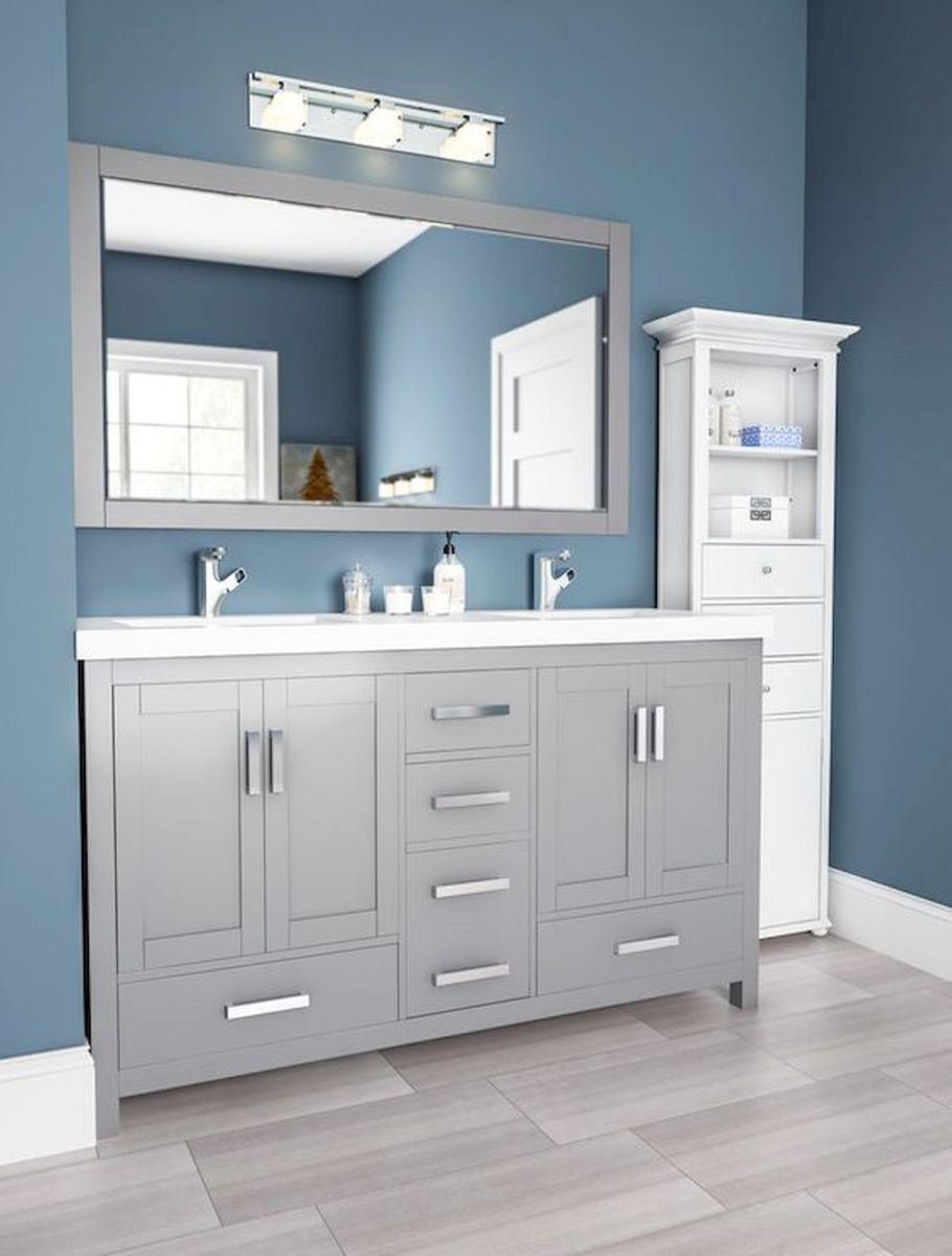 60 Fantastic Farmhouse Bathroom Vanity Decor Ideas And Remodel (17)