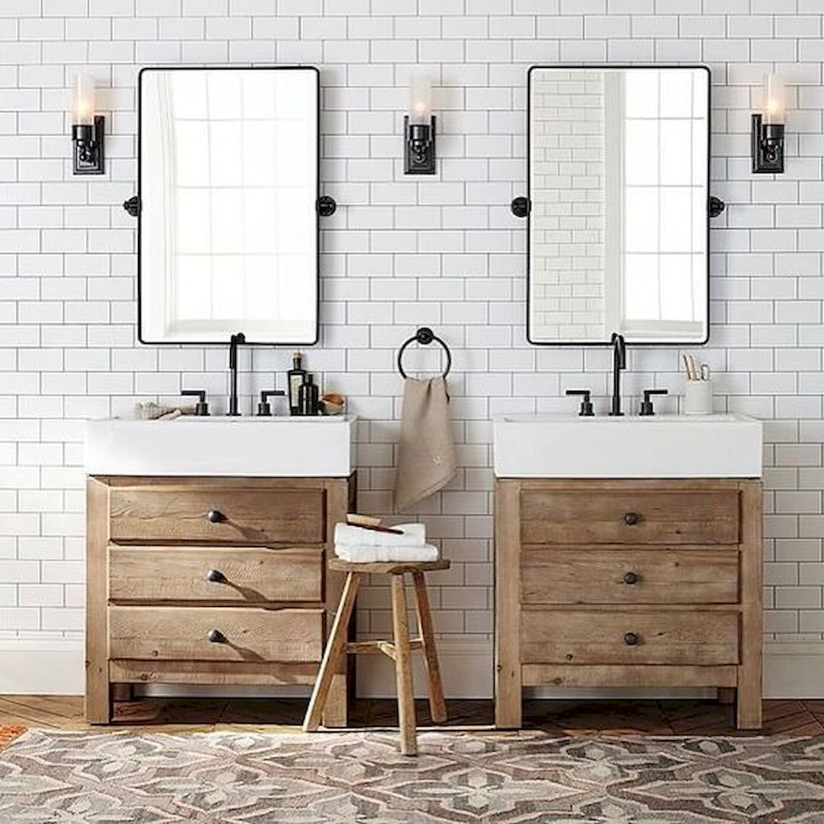 60 Fantastic Farmhouse Bathroom Vanity Decor Ideas And Remodel (20)