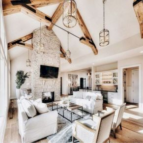 70 Best Farmhouse Living Room Decor Ideas And Remodel (17)