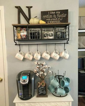 60 Suprising Mini Coffee Bar Ideas for Your Home (13)