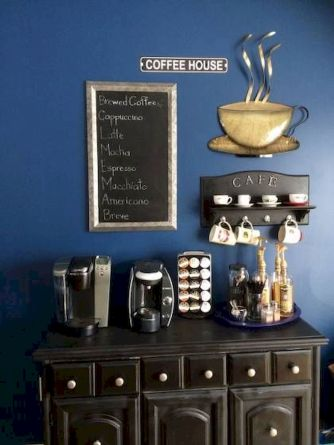 60 Suprising Mini Coffee Bar Ideas for Your Home (39)