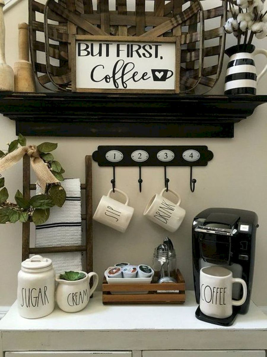 60 Suprising Mini Coffee Bar Ideas for Your Home (52)