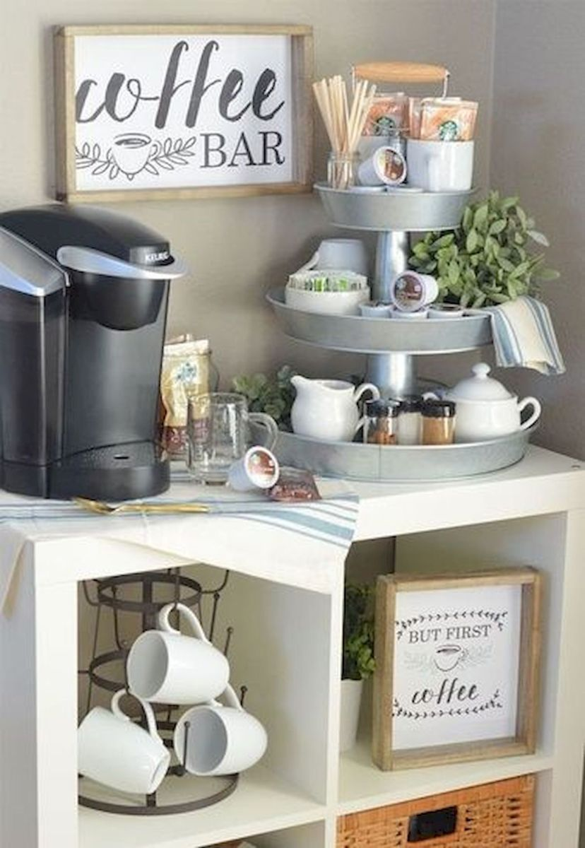 60 Suprising Mini Coffee Bar Ideas for Your Home (7)