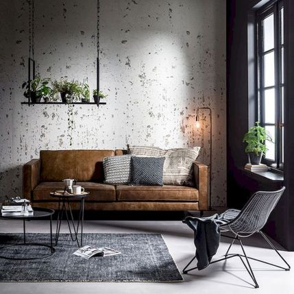 72 Industrial Living Room Decor Ideas (18)