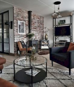 72 Industrial Living Room Decor Ideas (46)