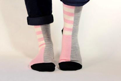 goomo.shop_pink and natural stripes Adult merino socks.