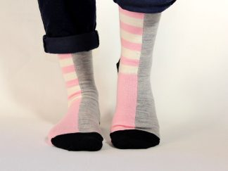 goomo.shop_pink and natural stripes Adult merino socks.
