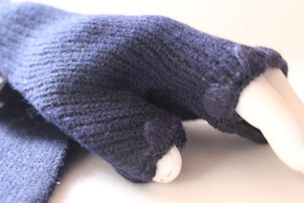 Cardi navy mitten crochet trim