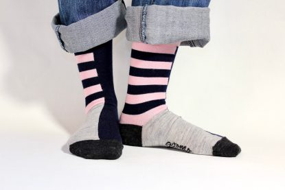 goomo.shop_navy and pink stripes adult merino socks