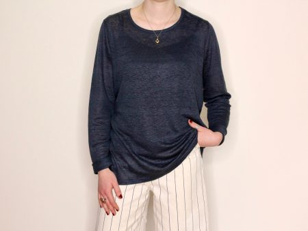 Goomo.shop_pure linen top Prussian Blue