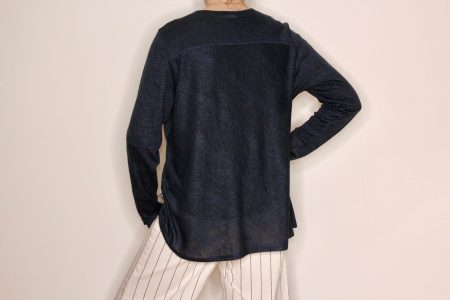 Goomo.shop_pure linen top Prussian Blue
