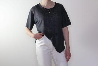 goomo.shop_pure linen steel short sleeve action back top