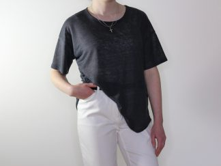 goomo.shop_pure linen steel short sleeve action back top