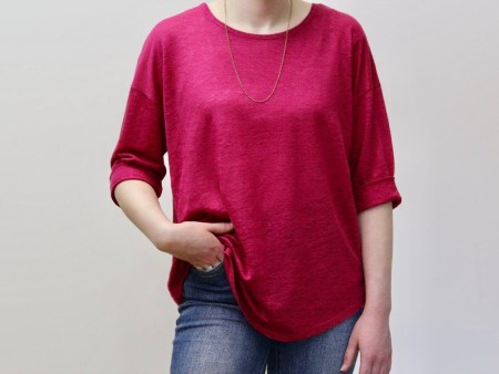 goomo.shop_pure linen cerise 3/4 sleeve