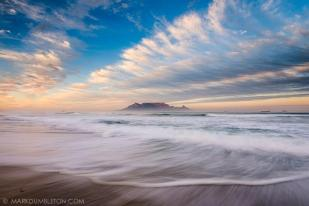 Table Mountain in the Western Cape Province, looking from the beach at Bloubergstrand.