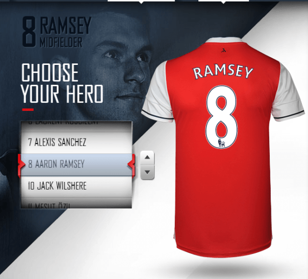 Ramsey's kit on Arsenal Direct
