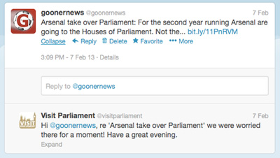 UK Parliament Twitter Reply To Gooner News