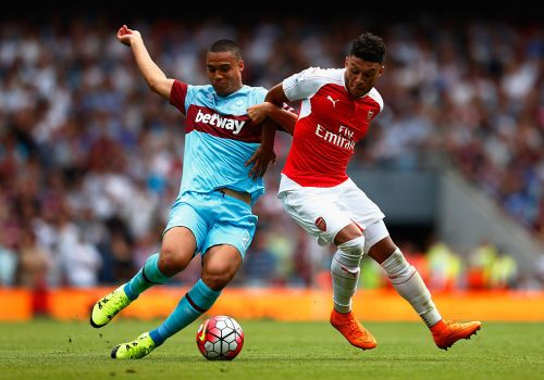 during the Barclays Premier League match between Arsenal and West Ham United at the Emirates Stadium on August 9, 2015 in London, England.