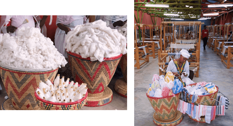 baskets of cotton fibers