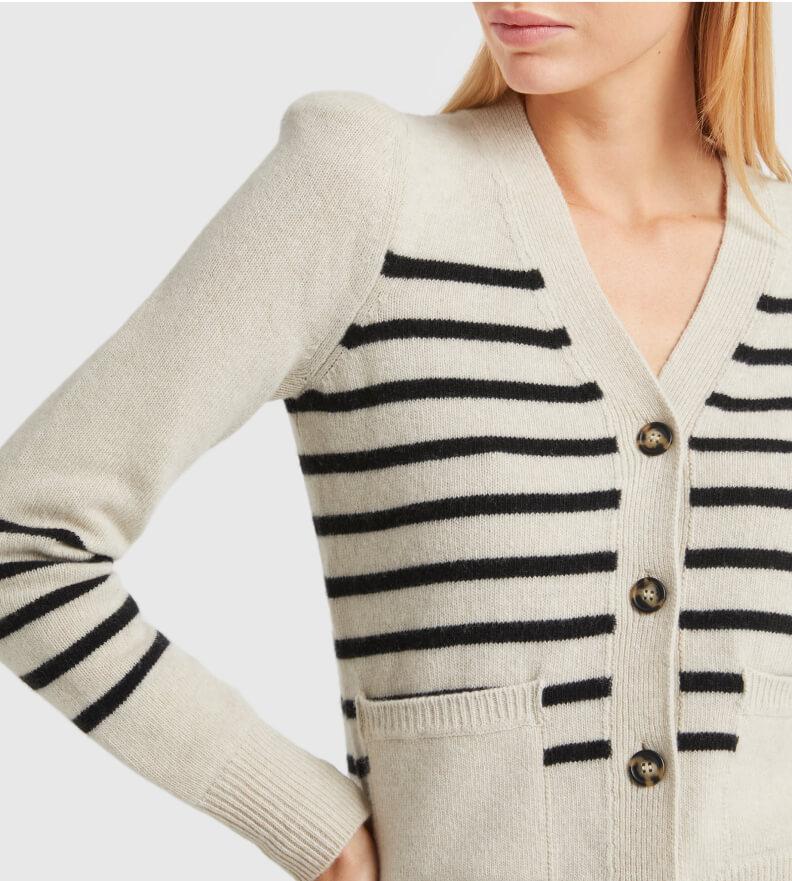 woman in G. label Kirstie Striped Puff-Sleeve Cardigan