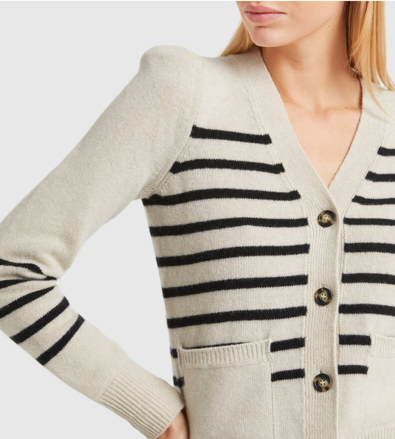 woman in G. label Kirstie Striped Puff-Sleeve Cardigan