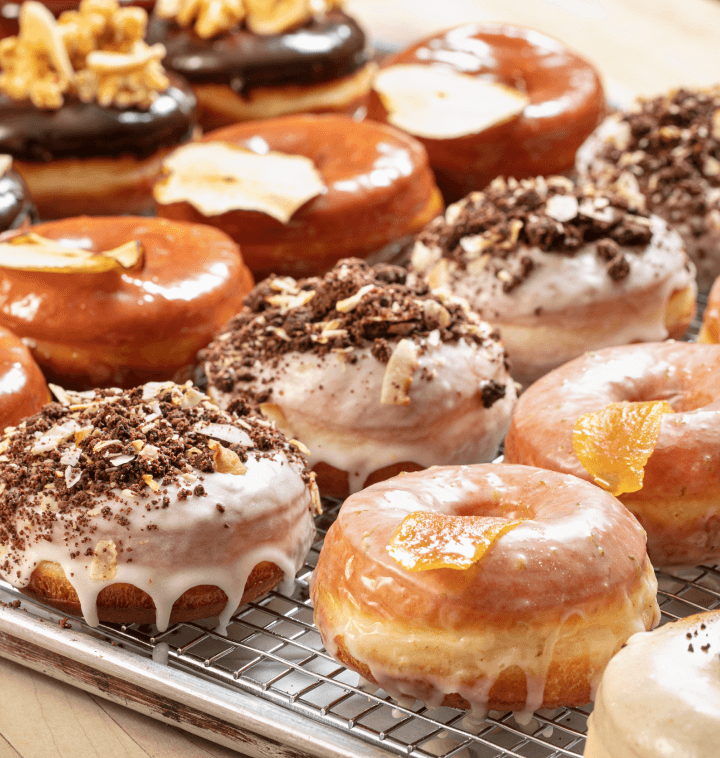 various donuts on a tray