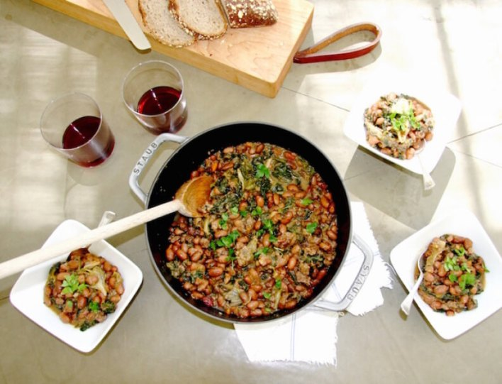 Bean Stew with Kale and Escarole