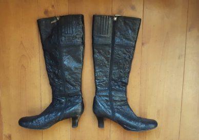 lange laarzen Mexx,goosvintage,zwarte leren laarzen