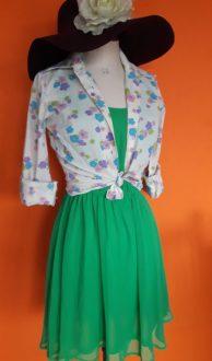 groen jurkje H&M,goosvintage,vintagedress,goosvintagevught