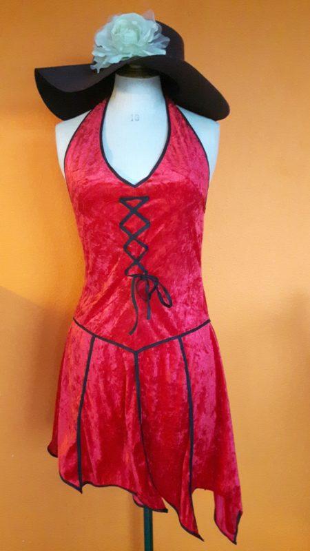 Vintage rode duiveljurk maat S-M,goosvintage