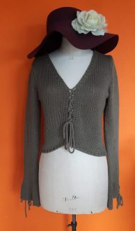 Vintage legergroene korte gebreide trui Watcher maat S,Goosvintage
