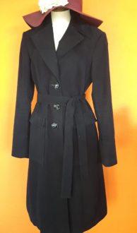 Vintage lange zwarte jas PHARD NL maat 40,Goosvintage