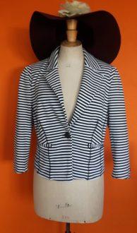 Vintage zwart wit gestreept colbert jasje Claudia Sträter M/L,Goosvintage