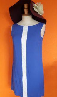 Vintage kort blauw jurkje van Mango XS/S,Goosvintage