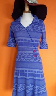 paars blauwe jurk Who's that Girl maat S,Goosvintage